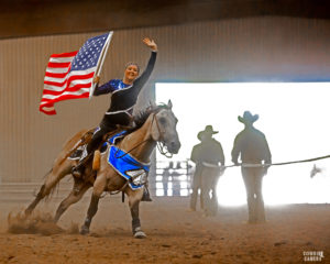 Stunt riders, flag, cowgirl, cowboys, horses